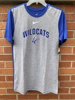 SHORT SLEEVE T-SHIRT - gray front with royal back and sleeves and a white Swoosh over royal/white Wildcats arched over LC