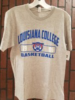 T-SHIRT S/S BASKETBALL, ROYAL LOUISIANA COLLEGE ARCHED OVER WILDCAT HEAD IN BAR WITH YEAR OVER BASKETBALL MESH LETTERS