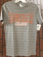 SHORT SLEEVE T-SHIRT - large orange outlined Louisiana over white/orange script College on a tonal stripe pattern