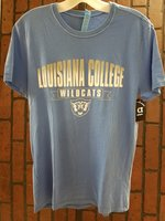 SHORT SLEEVE T-SHIRT - silver/white Louisiana College arched over white Wildcats in a silver banner over a white wildcat head