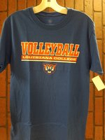 T-SHIRT S/S VOLLEYBALL ROYAL/WHITE OVER WHITE LOUISIANA COLLEGE IN ROYAL BOX OVER WHITE BAR OVER WILDCAT HEAD