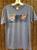 SHORT SLEEVE T-SHIRT - navy bars with a full color wildcat head and orange/white LC Claw over navy Wildcats