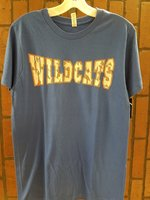 T-SHIRT S/S WILDCATS GRAY SHADED GEOMETRIC LETTERS OUTLINED BY ORANGE ACROSS FRONT