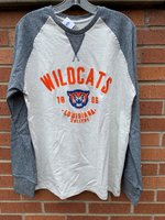 LONG SLEEVE T-SHIRT - light gray body with navy heather raglan sleeves, orange Wildcats over 1906 with a wildcat head in the middle over Louisiana over College
