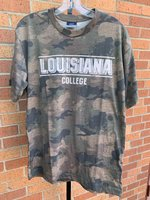 SHORT SLEEVE T-SHIRT - camo with Louisiana in large block letters with a shadow between two white lines over College