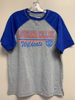 SHORT SLEEVE T-SHIRT - gray body with royal baseball sleeves and Louisiana College in orange above a royal and orange bar with Wildcats in royal script underneath beside a Wildcat head