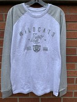 LONG SLEEVE T-SHIRT - gray raglan with Wildcats arched over the LC Claw outline over a wildcat head between Est. 1906 all in gray puff paint