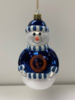 SNOWMAN ORNAMENT cobalt blue shirt with Louisiana College and an interlocking LC inside the orange seal