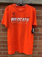 FOOTBALL TEE - white striped Wildcats outlined in black on black Swoosh background over white Football and Swoosh