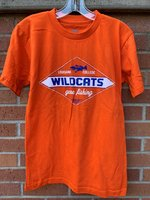 FISHING TEE - diamond logo with Wildcats in the center, Louisiana College and a bass above, and Gone Fishing below