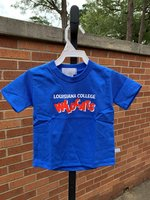 TODDLER SHORT SLEEVE TEE - Louisiana College in white over Wildcats in orange scattered block letters