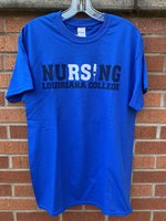 "NURSING T-SHIRT - Nursing in navy and white with a syringe for the ""I"" over Louisiana College in navy"