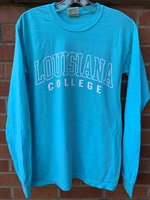 LONG SLEEVE T-SHIRT - Louisiana in a white outline above a solid white College