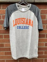 SHORT SLEEVE T-SHIRT - dark gray raglan sleeves with a light gray body and an orange Louisiana arched over royal College