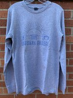 LONG SLEEVE T-SHIRT - sunrise over outline of building above outlined Louisiana College letters all in royal