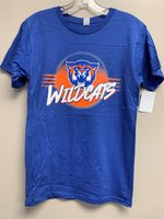 SHORT SLEEVE T-SHIRT - circle logo with royal fading to orange and a white outline containing a Wildcat head above Wildcats with four orange bars on either side