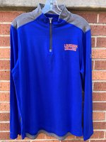 1/4 ZIP LONG SLEEVE SHIRT - charged cotton with an orange/white Louisiana over College left chest logo and gray shoulder accent panels