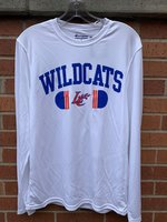 LONG SLEEVE T-SHIRT - white performance shirt with royal Wildcats over orange/royal LC Claw in a royal/orange split pill design
