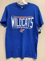 SHORT SLEEVE T-SHIRT - mesh logo with orange and white arched lines above Wildcats in white over Louisiana College in white between white and orange lines with a orange LC Claw underneath