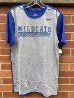 SHORT SLEEVE T-SHIRT - color block style with gray front and royal collar, sleeves, and back featuring a distressed royal logo of Wildcats over the wildcat head over horizontal lines