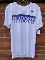 SHORT SLEEVE T-SHIRT - royal Wildcats in a fingerprint pattern box and a royal Swoosh on the upper left chest