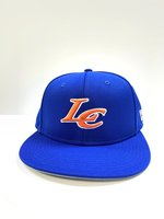 CAP FLATBILL RYL W/ GREY UNDER BILL ORN LOGO W/ WHT OUTLINE LC FRONT & WILDCATS BACK STRETCH FIT BASEBALL TEAM STYLE