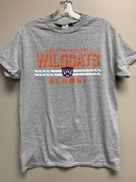 ALUMNI SHORT SLEEVE T-SHIRT - royal or gray - orange Louisiana College over a shadow outline of Wildcats over a white bar containing a full color wildcat head over Alumni