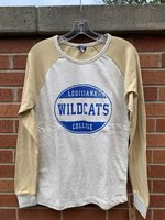 LONG SLEEVE T-SHIRT - baseball style with a distressed royal circle logo on front