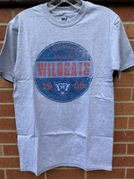 SHORT SLEEVE T-SHIRT - royal/orange/light blue distressed circle with Louisiana College Wildcats and 1906 with a wildcat head