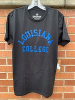 SHORT SLEEVE T-SHIRT - royal Louisiana arched over College in block letters