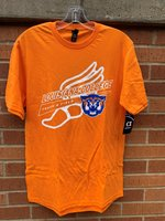 TRACK TEE - Louisiana College in orange and white is angled over Track & Field in white with a white shoe background and a wildcat head on the bottom left