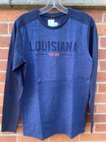 LONG SLEEVE T-SHIRT - heathered front with a solid back and sleeves and a front logo with navy Louisiana over orange College with a navy bar