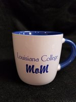 MUG MOM WHITE WITH BLUE INSIDE AND BLUE LOUISIANA COLLEGE MOM ON OUTSIDE