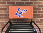 STADIUM CHAIR - ORANGE CANVAS BACK WITH ROYAL LC CLAW OUTLINED IN WHITE