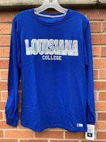 LONG SLEEVE T-SHIRT - large white Louisiana with Wildcats overlay over College in white