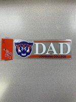 DECAL DAD IN WHT ORN BAR ABOVE RYL LOUISIANA COLLEGE IN ORN BOTTOM BAR FULL COLOR WILDCAT HEAD ON LEFT 2.5 x 8""