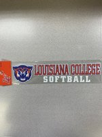 DECAL FULL COLOR WILDCAT HEAD ON LEFT LOUISIANA COLLEGE ORN/ WHT RYL OUTLINE ABOVE WHT SOFTBALL 10.5 x 2.5""