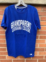 GRANDPARENT TEE - royal or orange - Grandparent is arched in white over Louisiana College