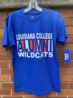 T-SHIRT S/S WHT LOUISIANA COLLEGE / ALUMNI WHT RYL ALTERNATE BACKGROUND / WHT WILCATS