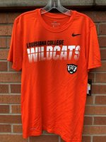 SHORT SLEEVE T-SHIRT - black Louisiana College over white striped Wildcats over a black/white Wildcat Head on the lower left