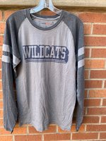 LONG SLEEVE T-SHIRT - gold or light gray body with dark gray collar and sleeves and an outline logo of Wildcats on the chest