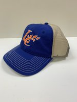 CAP FLATBILL ROYAL FRONT & BILL W/ ORN LC CLAW LOGO AND TAN MESH BACK