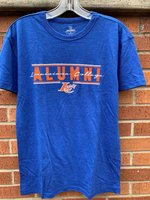 ALUMNI SHORT SLEEVE T-SHIRT - royal or orange - Alumni in block letter between lines with Louisiana College in script through over an LC Claw