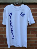 SHORT SLEEVE T-SHIRT - royal LC Claw logo on left front chest and royal Wildcats vertically over royal UA logo