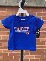 INFANT TEE - orange/white outlined Wildcats over Louisiana College and a wildcat head