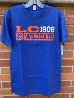 SHORT SLEEVE T-SHIRT - orange LC and white 1906 over a Wildcat head and Wildcats in orange mesh boxes on the front and a Wildcat head over Wildcats in orange boxes down the back