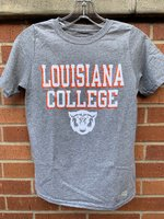 YOUTH SHORT SLEEVE TEE - royal or gray shirt with orange/white Louisiana over College over a white wildcat head
