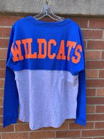LONG SLEEVE T-SHIRT - royal or mint green top and sleeves with a gray bottom, Wildcats in large print across the back, and a left chest white arched logo of Louisiana College over a wildcat head