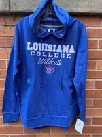 LADIES HOODIE -gray or royal- hooded with a rounded hem that has side splits, side pockets, and a stitched fabric Louisiana over an embroidered College and full color Wildcat head