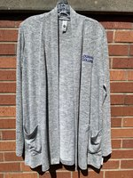 LADIES CARDIGAN - long sleeve open cardigan with pockets and Louisiana College embroidered in royal on the left chest